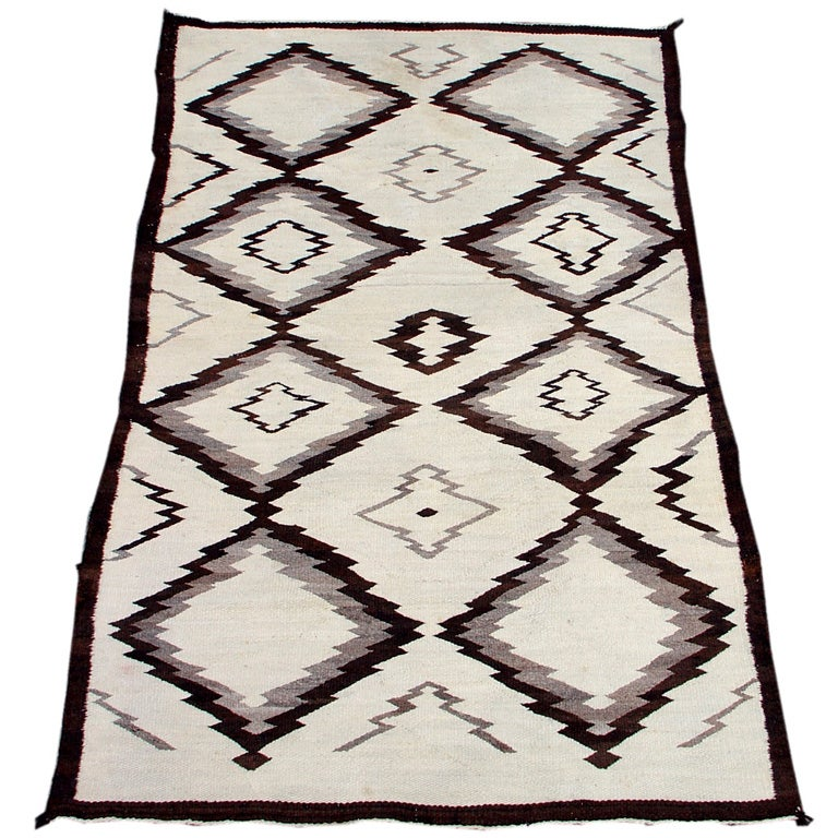 Lovely Three Toned Undyed Wool Navajo Scatter Rug At 1stdibs