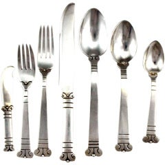 Aguilar 1940 Sterling Silver Aztec Flatware, 115 Pieces