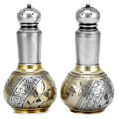 Whiting Aesthetic Japanesque 1880 Silver Pair Salt /  Pepper