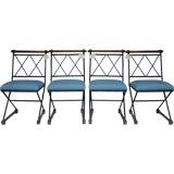 Set of Iron and Wood X-Based Dining Chairs