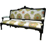 Antique Ebonized Carved Settee