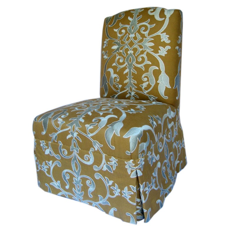 Upholstered Slipper Chair In Embroidered Fabric At 1stdibs