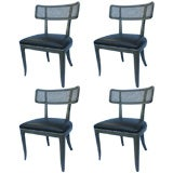 Set of Four Edward Wormley Cane Back Chairs