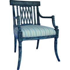 """Rose Tarlow Painted """"Pope"""" armchair in Striped Cotton fabric"""