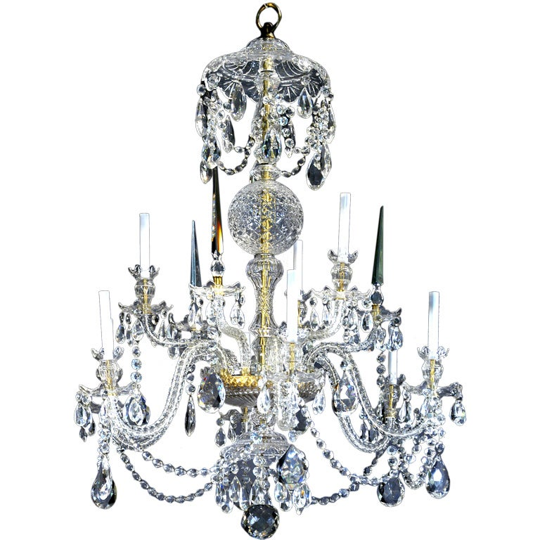 Georgian Style Hand Finished Two Tier Cut Crystal Chandelier