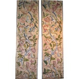 17th Century pair of Embroidered Column Covers