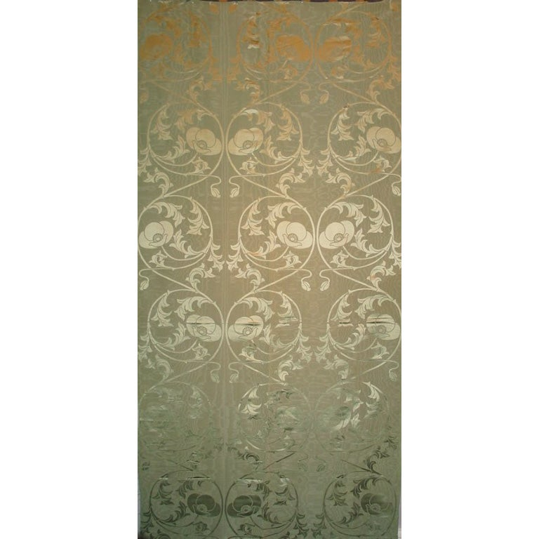 Art Nouveau Celadon Silk Panel