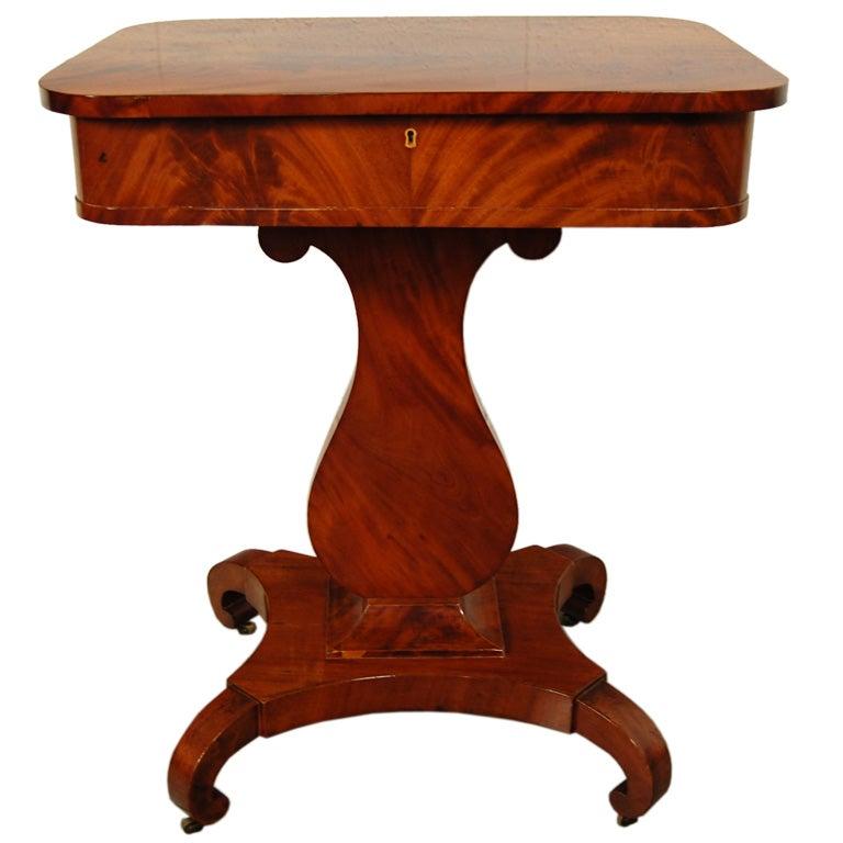 Antique swedish karl johan biedermeier lyre pedestal for Pedestal side table