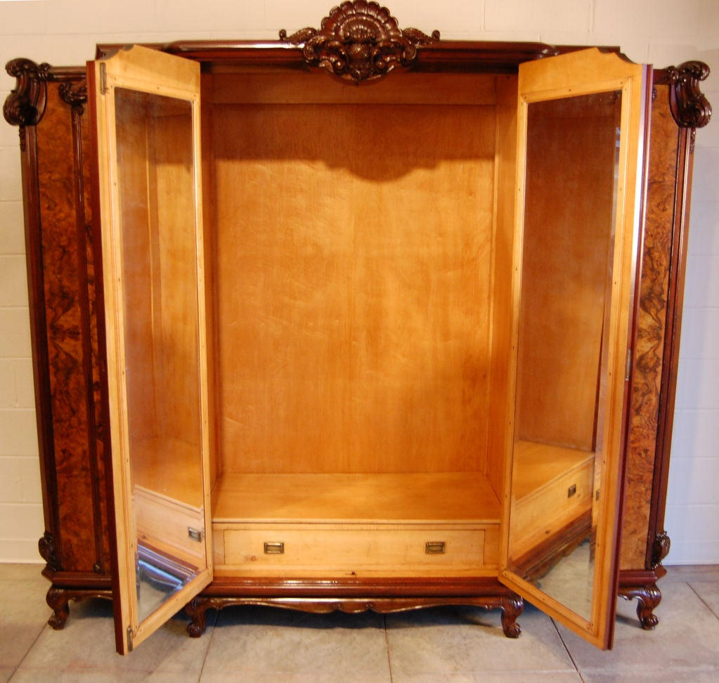 large swedish rococo walnut burl armoire or wardrobe at. Black Bedroom Furniture Sets. Home Design Ideas