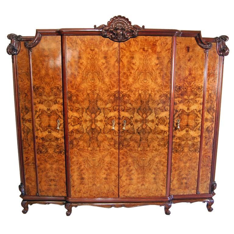 Large Swedish Rococo Walnut Burl Armoire or Wardrobe at ...