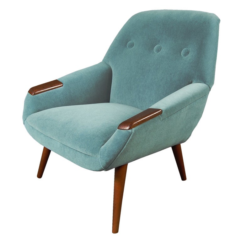 Upholstery sale swedish mid century modern teak armchair for Mid century modern upholstered chair
