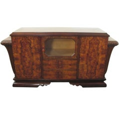 Spanish Art Deco Burl Walnut Credenza Buffet with Mirror