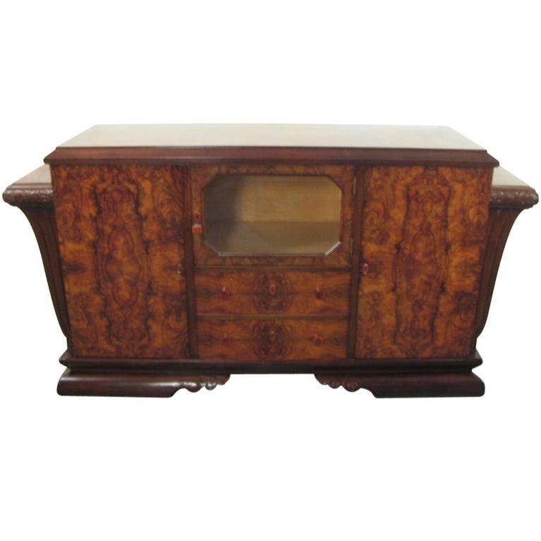 Spanish Art Deco Burl Walnut Credenza Buffet with Mirror