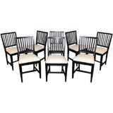 SALE! Set of Eight Vintage Swedish Gustavian Style Dining Chairs