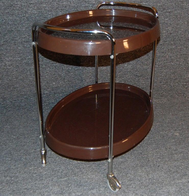 Chrome Swedish Mid-Century Modern Bar / Serving Cart For Sale