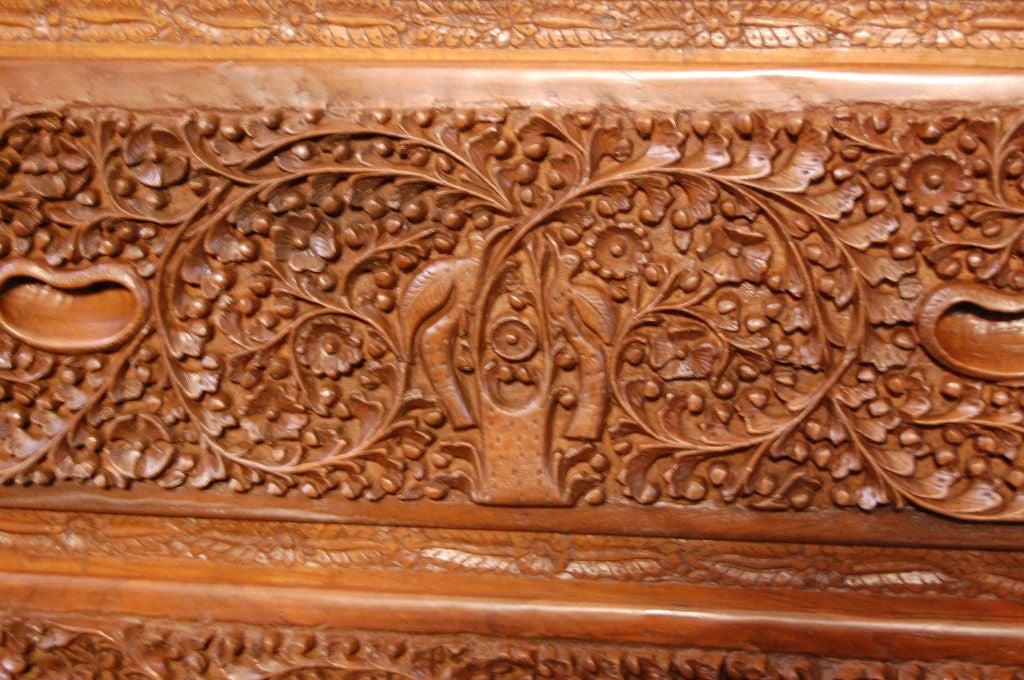 British Colonial Hand Carved Burmese Teak Drop Leaf