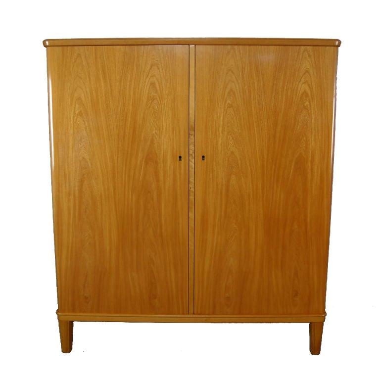 Swedish Art Moderne Elm Armoire Storage Cabinet 1