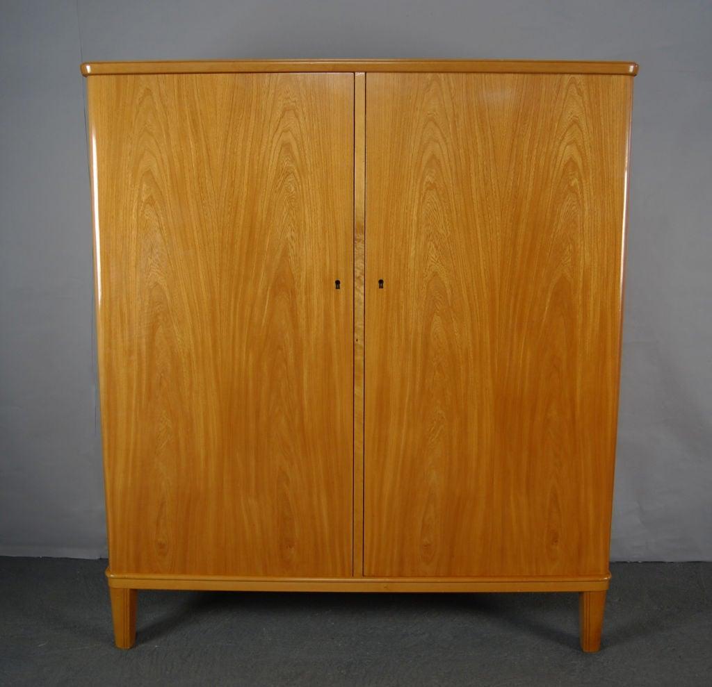 swedish art moderne elm armoire storage cabinet for sale. Black Bedroom Furniture Sets. Home Design Ideas