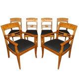 Set of Six Swedish Jugendstil and Karl Johan Birch Dining Chairs