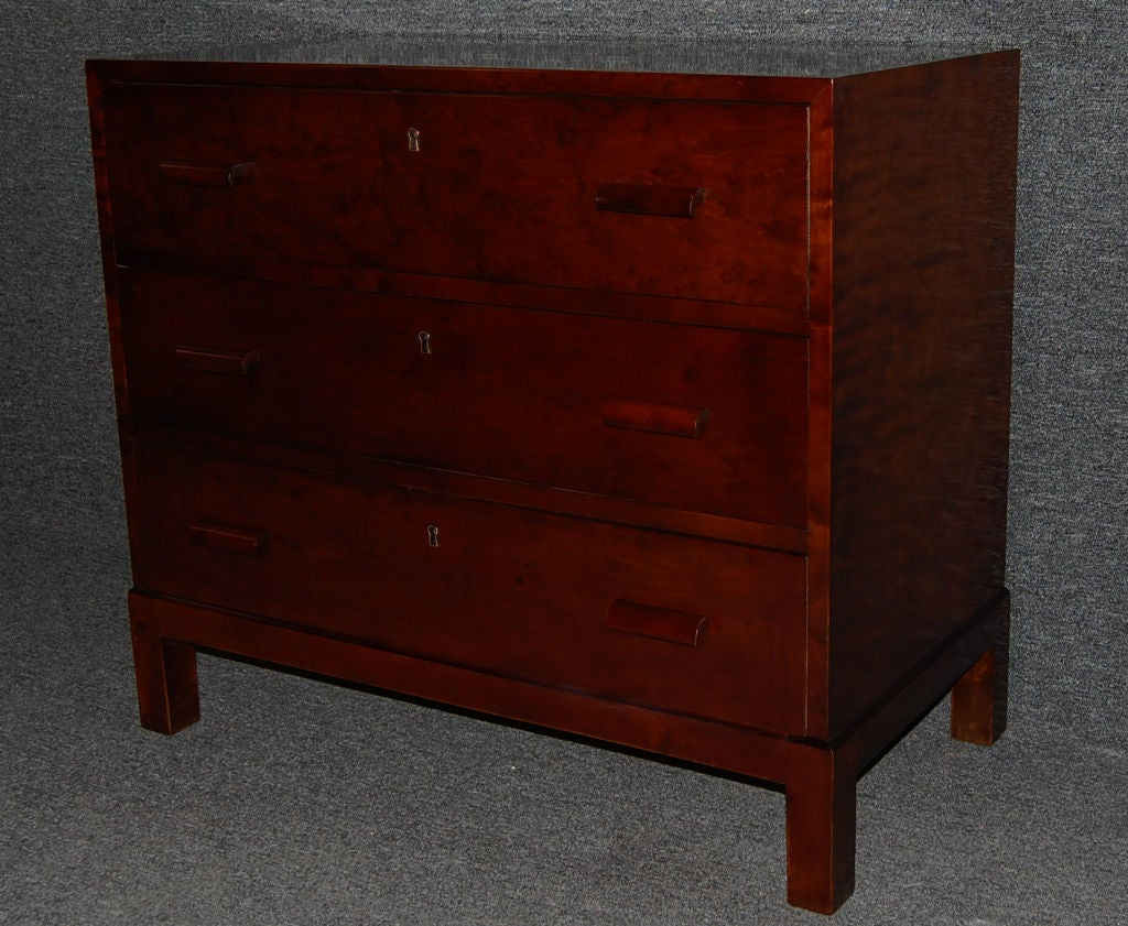 swedish art deco functionalist three drawer chest commode for sale at 1stdibs. Black Bedroom Furniture Sets. Home Design Ideas