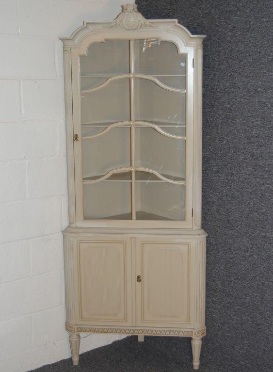 Swedish Gustavian Style Painted Corner Cabinet At 1stdibs