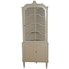 Swedish Gustavian Style Painted Corner Cabinet