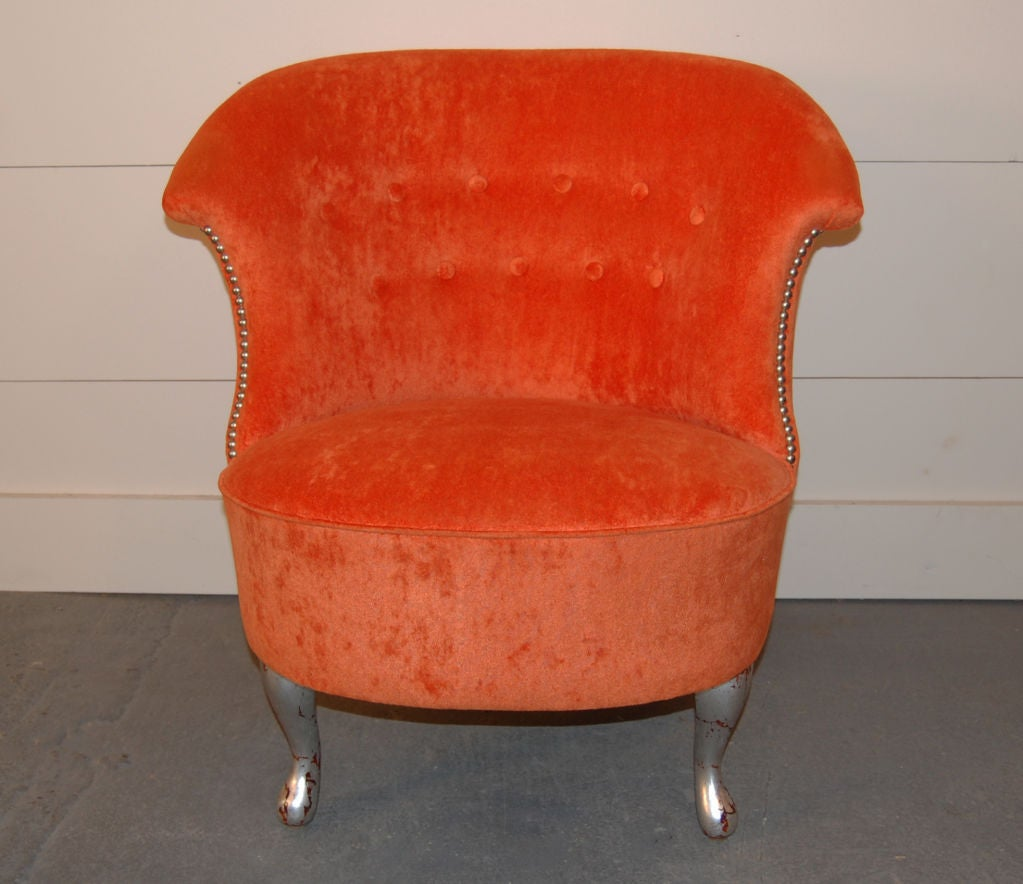 Vintage Swedish Slipper Chair in Orange Bamboo Velvet For Sale at ...