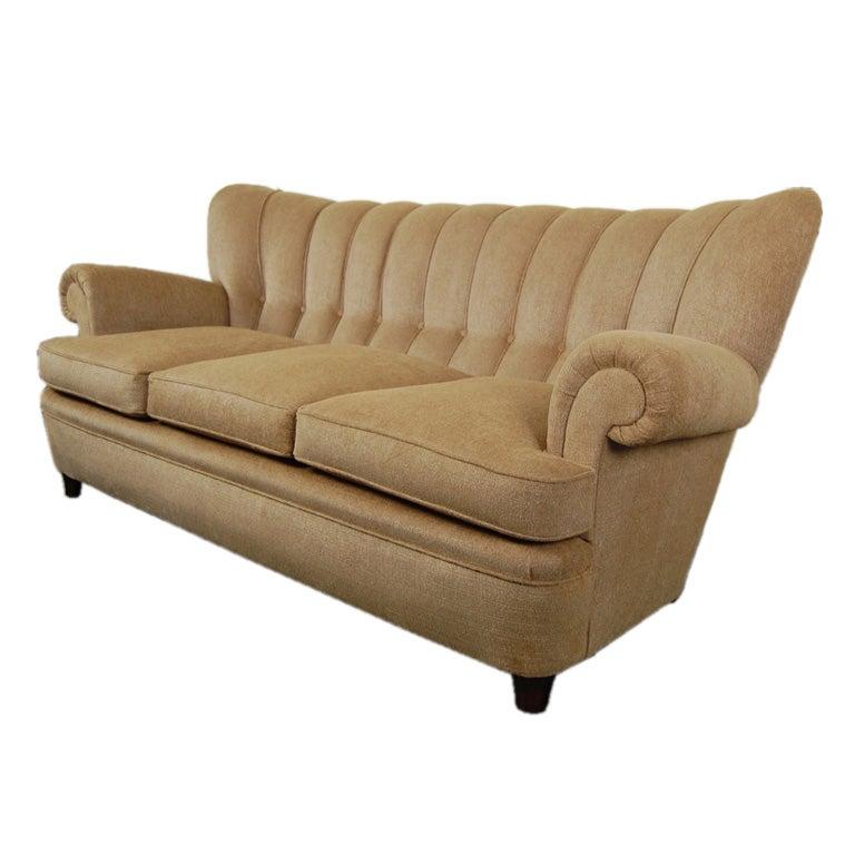 swedish art moderne tufted sofa. Black Bedroom Furniture Sets. Home Design Ideas