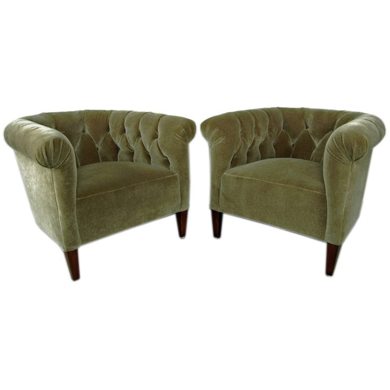Sale Pair Of Art Deco Chesterfield Mohair Club Chairs At