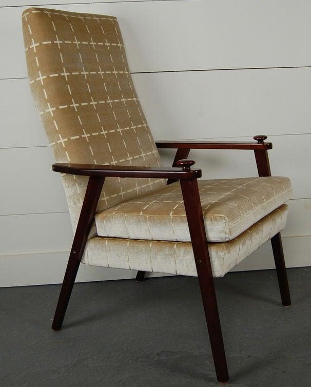 swedish mid century modern velvet lounge armchair for sale at 1stdibs. Black Bedroom Furniture Sets. Home Design Ideas