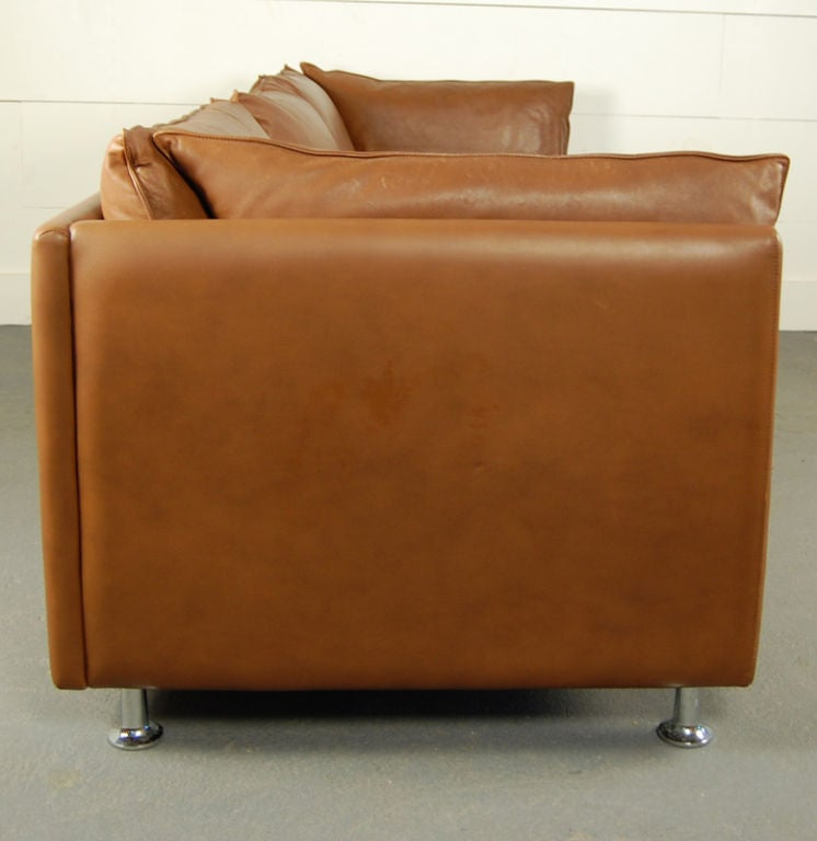20th Century Vintage Swedish Mid-Century Modern Leather Couch Sofa