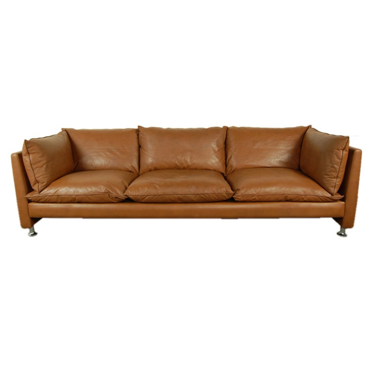 Vintage Swedish Mid-Century Modern Leather Couch Sofa at 1stdibs