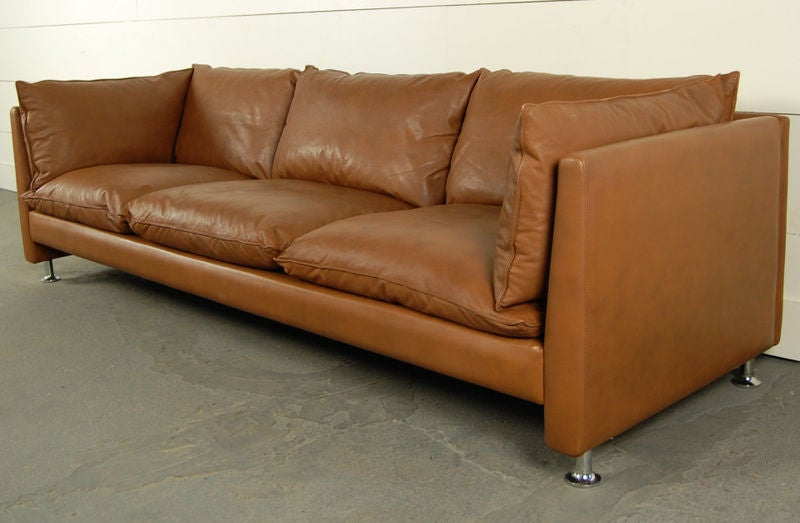 Vintage swedish mid century modern leather couch sofa at for Mid century modern leather sofa