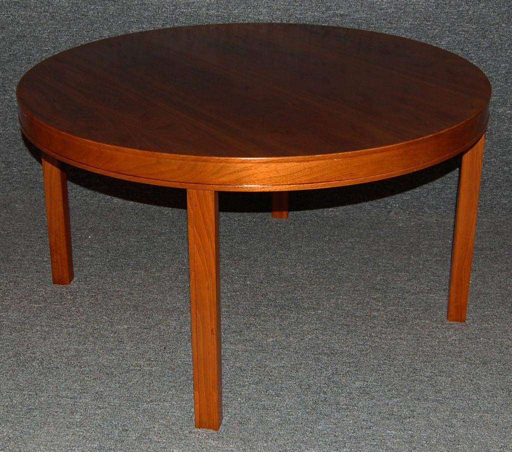 Swedish Modern Round Walnut End Or Coffee Table By Carl