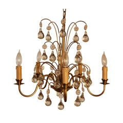 Vintage Swedish Brass and Crystal Chandelier by Orrefors