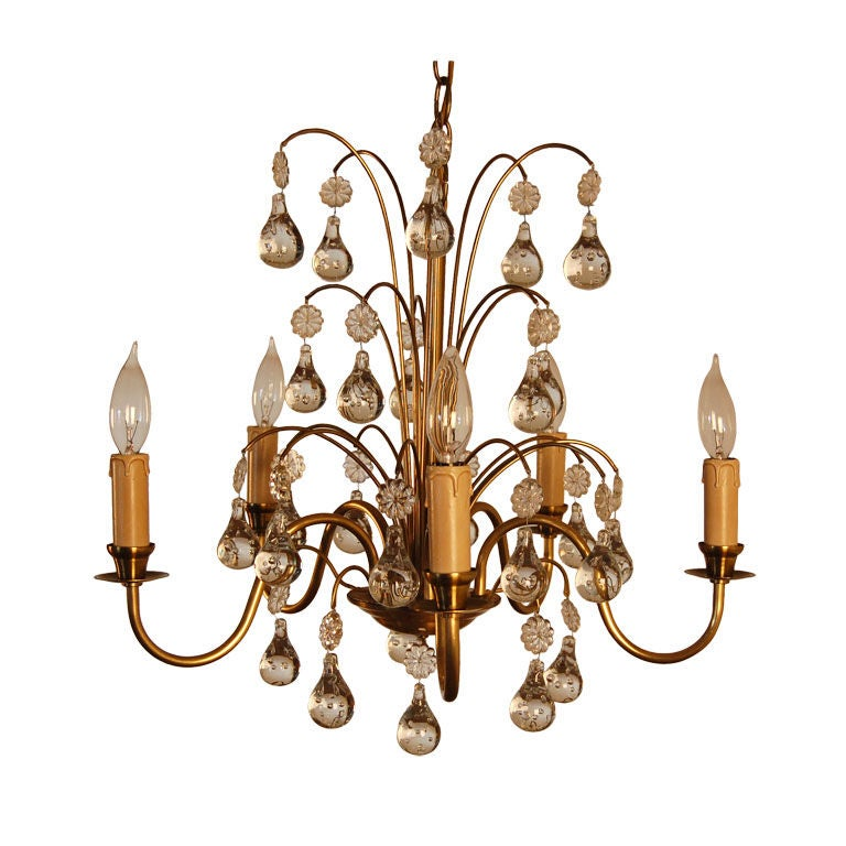 Vintage Swedish Brass and Crystal Chandelier by Orrefors 1
