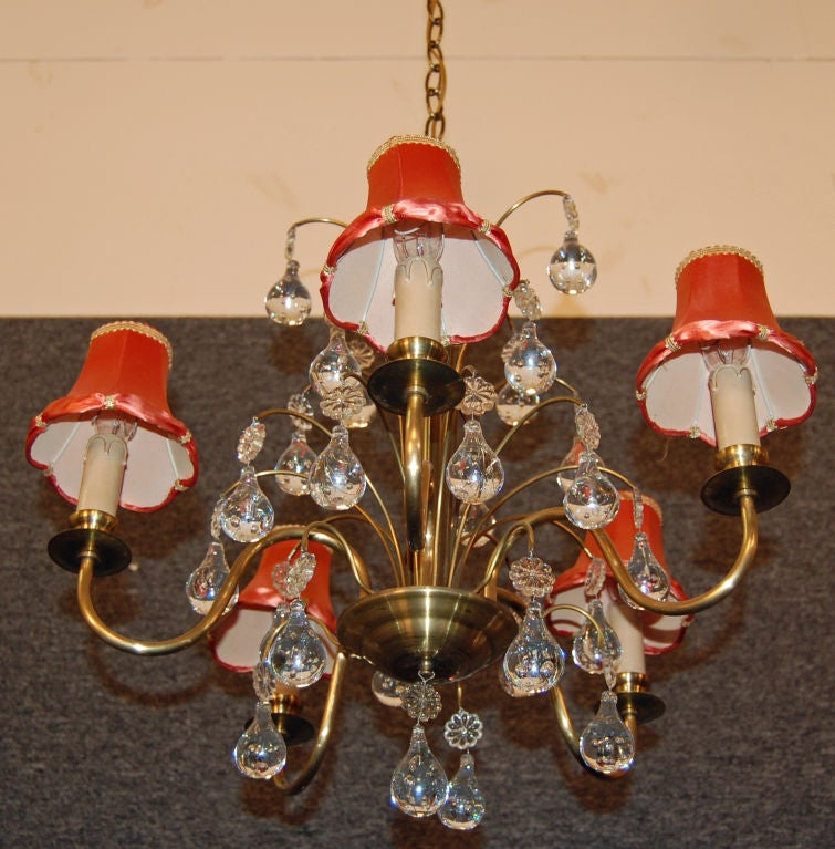 Vintage Swedish Brass and Crystal Chandelier by Orrefors 7