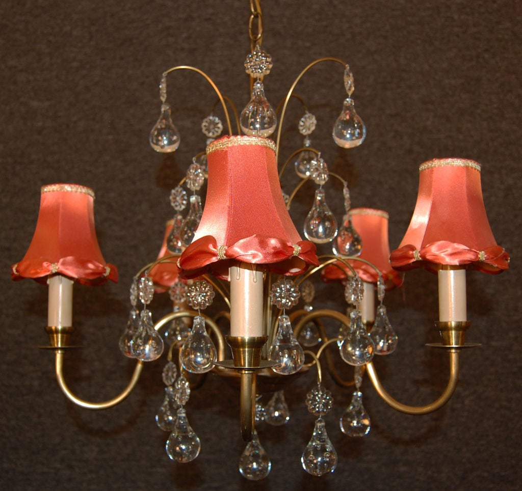 Vintage Swedish Brass and Crystal Chandelier by Orrefors 6