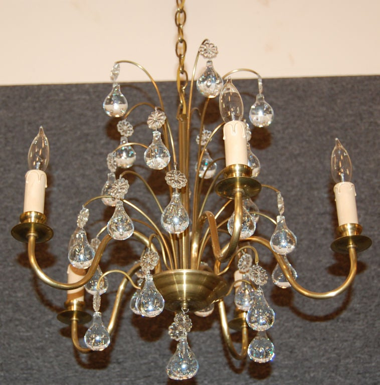 Vintage Swedish Brass and Crystal Chandelier by Orrefors 5