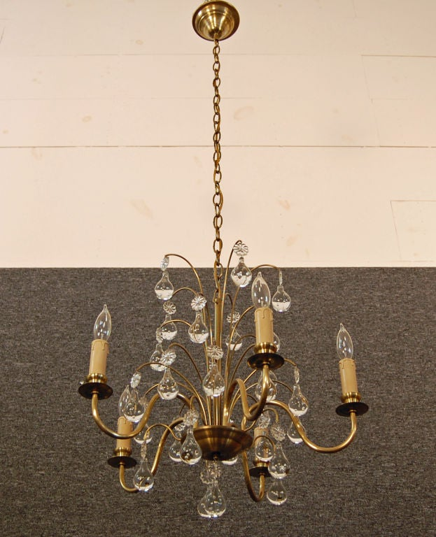 Vintage Swedish Brass and Crystal Chandelier by Orrefors 2