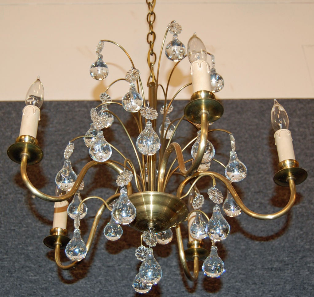 Vintage Swedish Brass and Crystal Chandelier by Orrefors 4