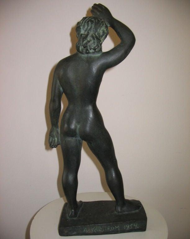 Vintage Swedish Nude Bronze Sculpture by Arvid Kallstrom, circa 1954 image 4