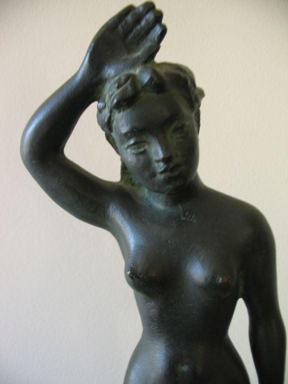 Vintage Swedish Nude Bronze Sculpture by Arvid Kallstrom, circa 1954 image 5