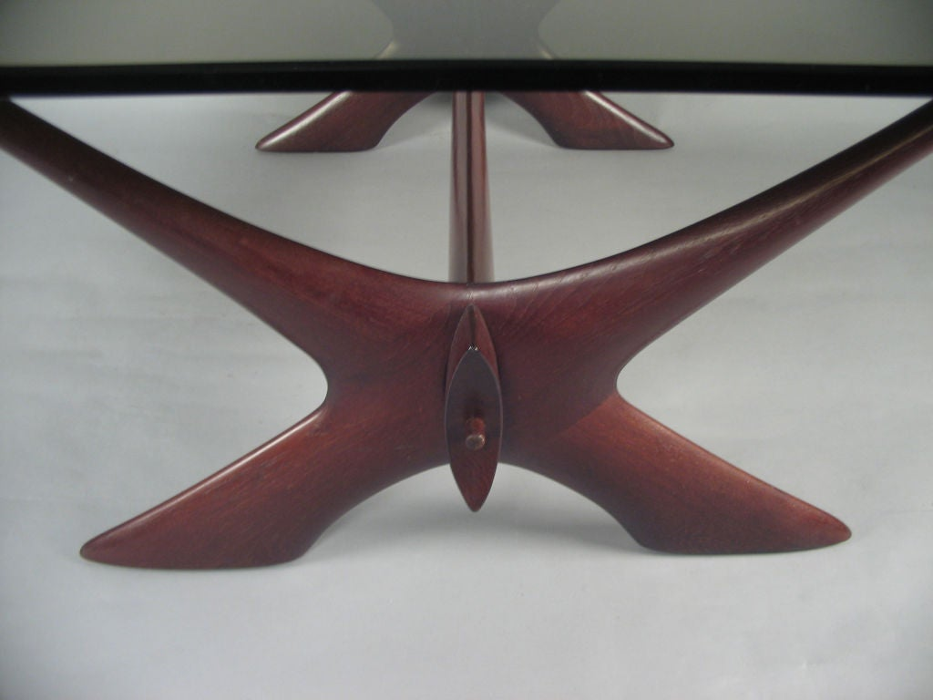 Vintage Danish Teak X Base Coffee Table By Illum Wikkels For Sale At 1stdibs