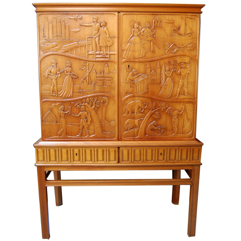 Swedish mid century carved relief cabinet by ebbe hoglund for Carved kitchen cabinets