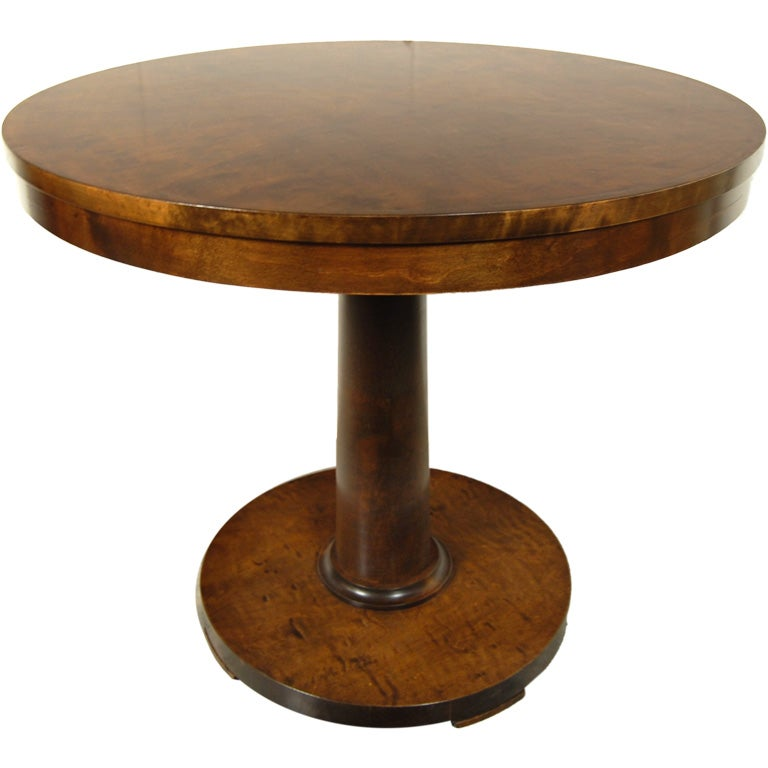 Swedish Art Deco Round Pedestal End Or Side Table At 1stdibs