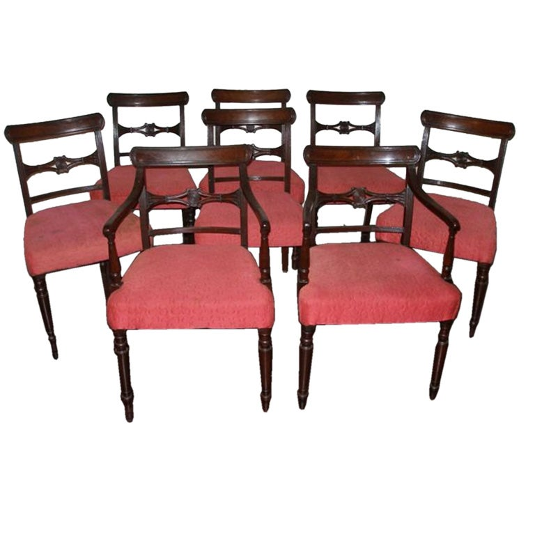 Set Of Eight Regency Style Dining Room Chairs At 1stdibs