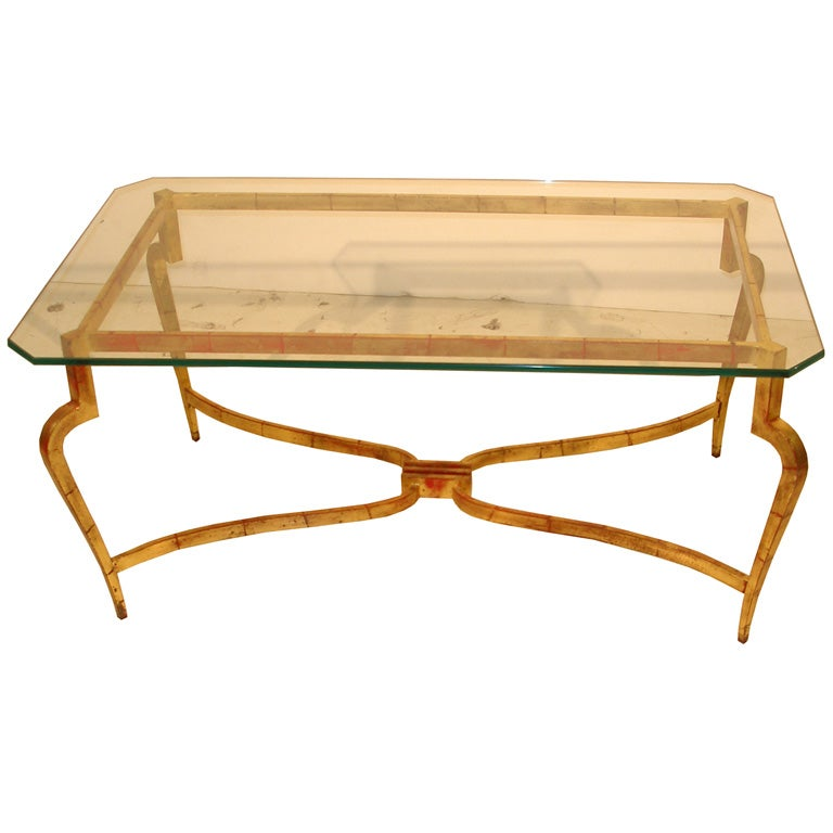 Gilt iron coffee table with octagonal glass top at 1stdibs for Octagon glass top coffee table