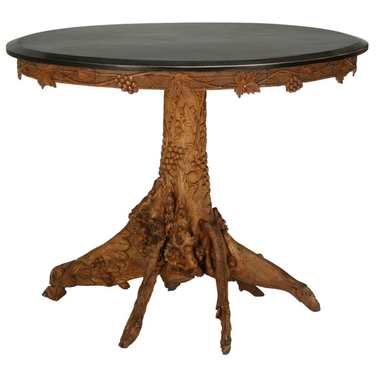 Birch Wood And Root Side Table With Ebonized Top At 1stdibs