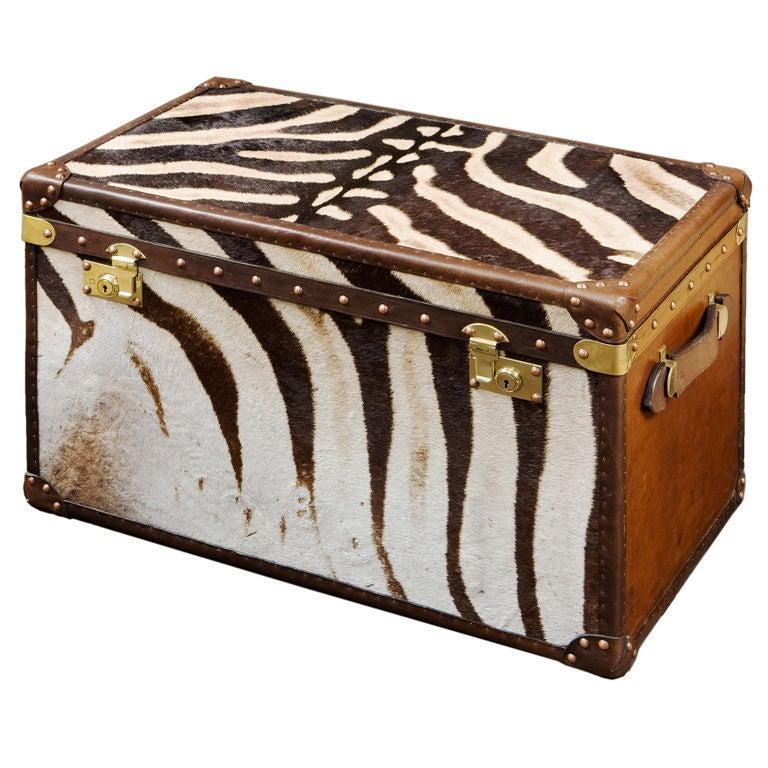 Hand Made Zebra Skin Trunks At 1stdibs